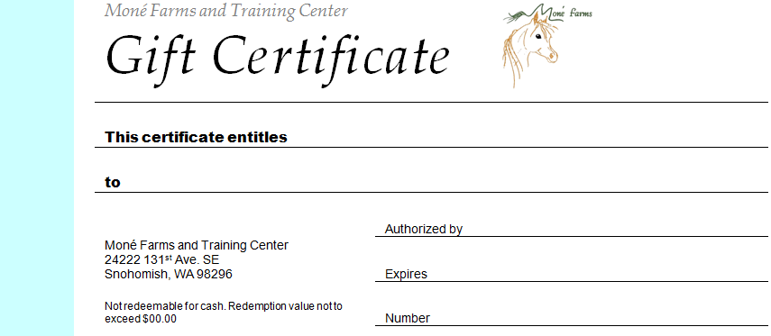 Mone farms and training center riding lessons for Horseback riding lesson gift certificate template