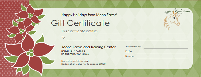 Mone farms and training center riding lessons gift certificate blue gift certificate green gift certificate to use simply bring one to the barn pay danielle and have her sign the certificate yadclub Choice Image